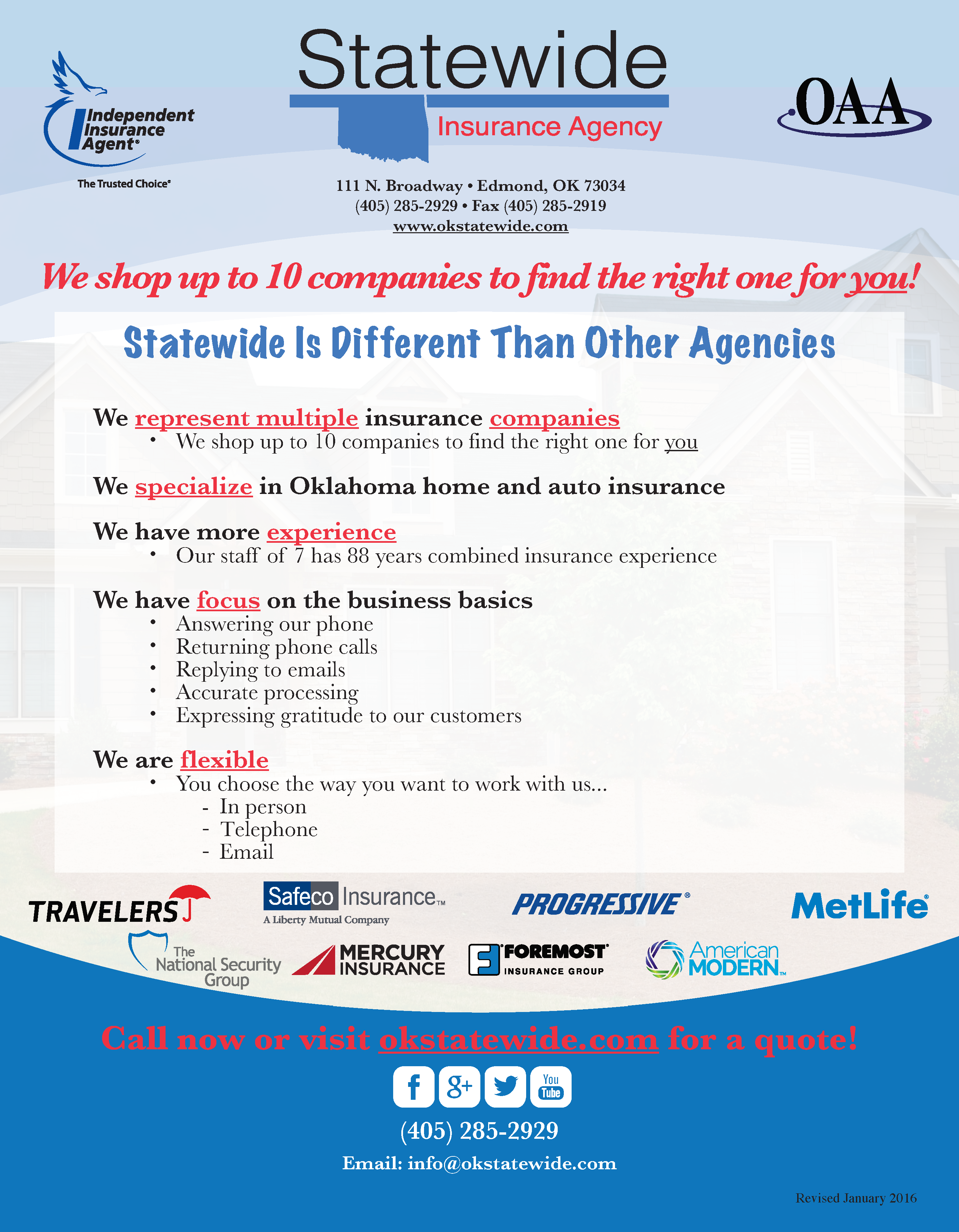 Statewide Home Insurance Flyer 2016 | Travelers | Safeco Insurance / A Liberty Mutual Company | Progressive | MetLife | The National Security Group | Mercury Insurance | Foremost Insurance Group | American Modern