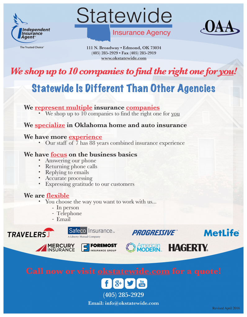 Statewide Home Insurance Flyer April 2016